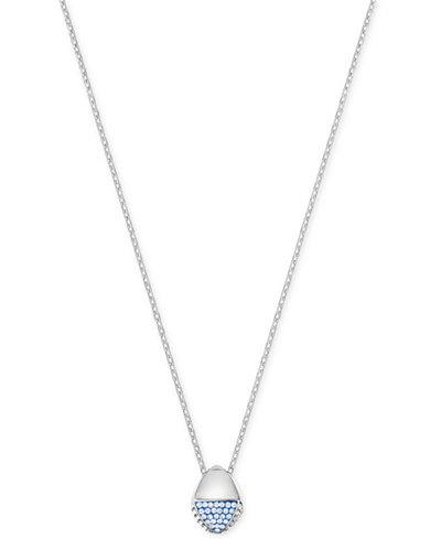 Swarovski Silver-Tone Pavé Pendant Necklace