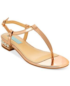 Blue by Betsey Johnson Evie T-Strap Evening Sandals Women
