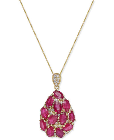 Certified Ruby (3-1/2 ct. t.w.) and Diamond (1/8 ct. t.w.) Pendant Necklace in 14k Gold, Created for Macy's