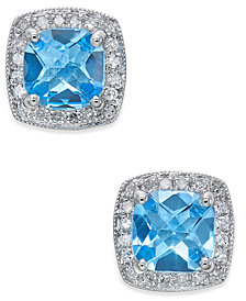 Blue Topaz (2 ct. t.w.) and Diamond (1/6 ct. t.w.) Stud Earrings in 14k White Gold