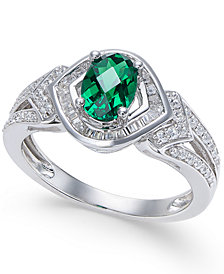 Emerald (1 ct. t.w.) and Diamond (1/3 ct. t.w.) Ring in 14k Gold