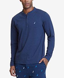 Nautica Men's Soft, Breathable Long Sleeve Henley Pajama Shirt