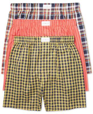 타미 힐피거 Tommy Hilfiger Mens 3 Pack Woven Cotton Boxers