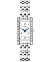 Citizen Eco-Drive Women s Silhouette Crystal Jewelry Stainless Steel  Bracelet Watch 18x32mm EX1470-51A a0e527f7fd