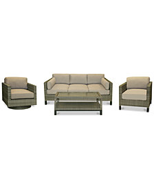 CLOSEOUT! North Port Wicker Outdoor 4-Pc. Seating Set (1 Sofa, 1 Club Chair, 1 Swivel Club Chair & 1 Coffee Table) with Sunbrella® Cushions, Created for Macy's