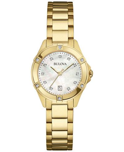 Bulova Women's Diamond Accent Gold-Tone Stainless Steel Bracelet Watch 27mm 97R100