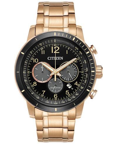 Citizen Men's Eco-Drive Chronograph Rose Gold-Tone Stainless Steel Bracelet Watch 44mm CA4359-55E