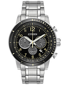 Citizen Men's Eco-Drive Chronograph Stainless Steel Bracelet Watch 44mm CA4358-58E