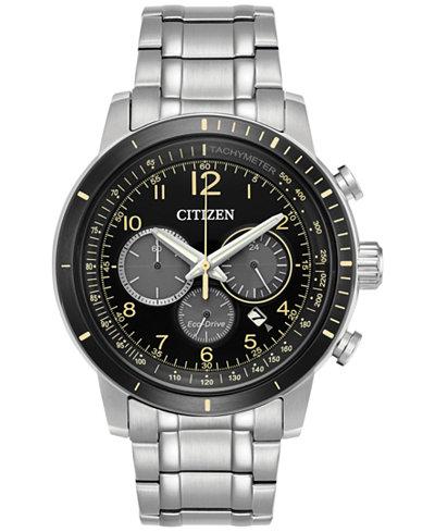 Citizen Men's Eco-Drive Chronograph Stainless Steel Bracelet Watch 44mm CA4358-58E