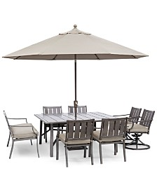 "Wayland Outdoor Aluminum 8-Pc. Dining Set (64"" Square Dining Table, 4 Dining Chairs, 2 Swivel Chairs & 1 Bench) with Sunbrella® Cushions, Created for Macy's"