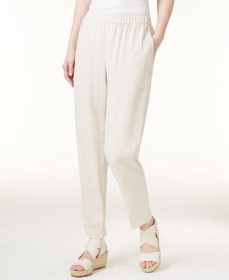 Silk Slouchy Ankle Pants, Regular & Petite