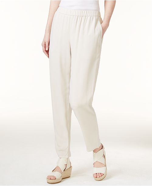 Eileen Fisher Silk Slouchy Ankle Pants, Regular & Petite