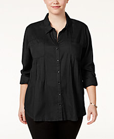 Style & Co Plus Size Roll-Tab Shirt, Created for Macy's