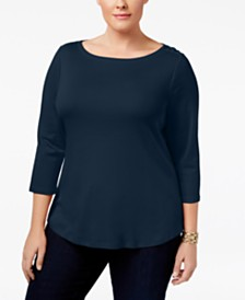 Charter Club Plus Size Cotton Boat-Neck Top, Created for Macy's