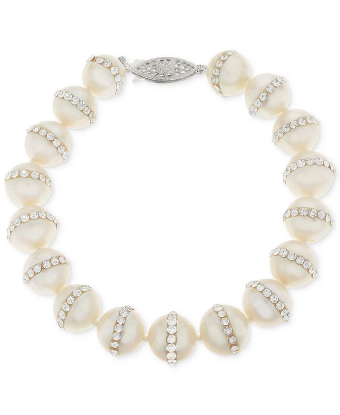 Macy's - Cultured Freshwater Pearl (9.5mm) and Crystal Bracelet