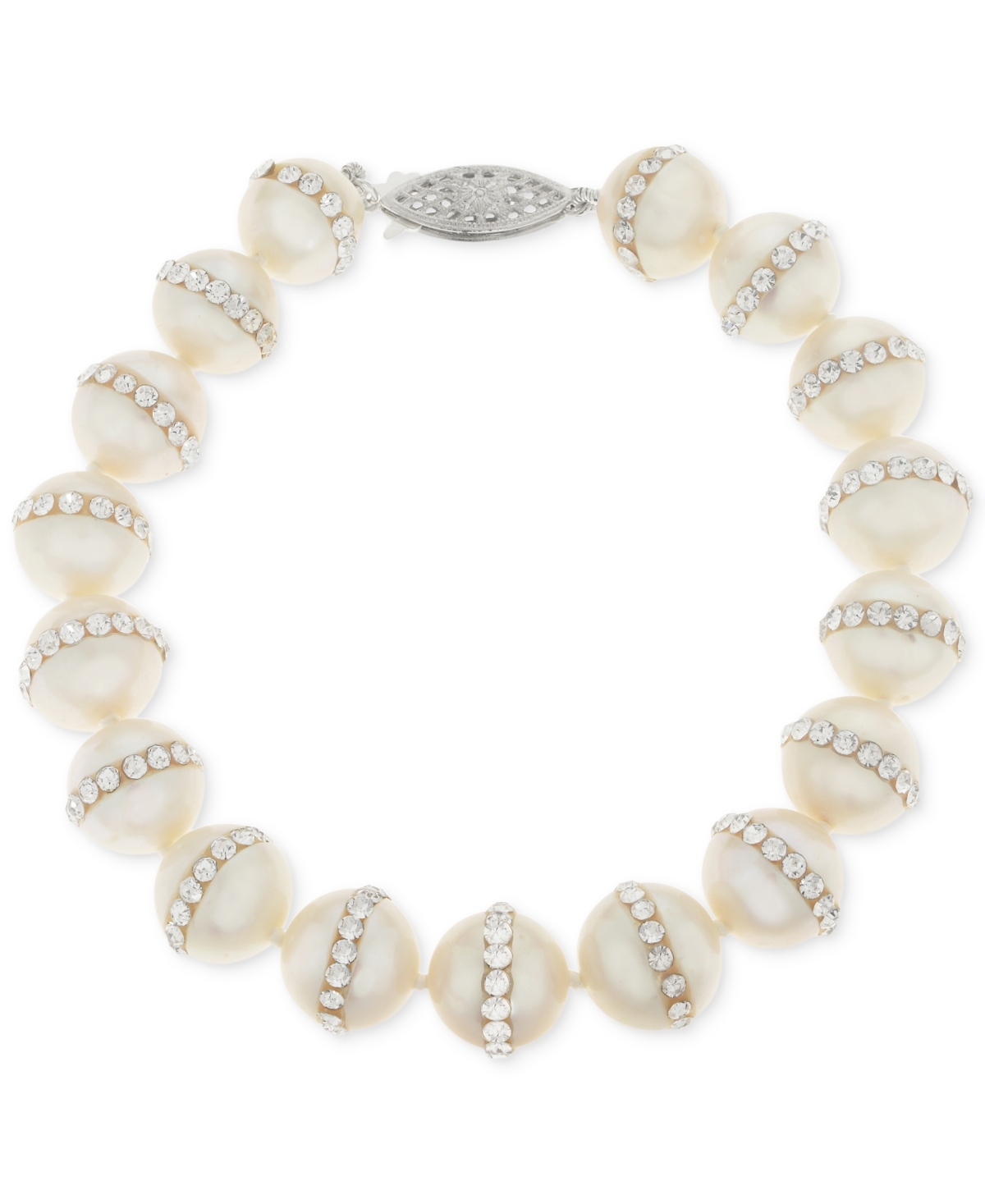 Cultured Freshwater Pearl (9.5mm) and Crystal Bracelet