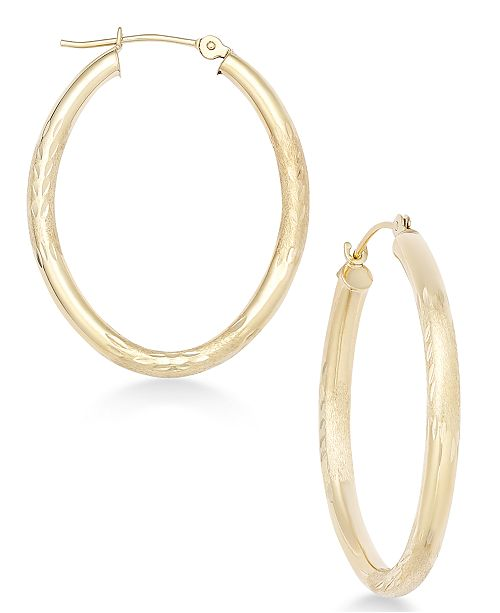 Matte Finish Etched Oval Hoop Earrings In 10k Gold 1 Reviews Main Image