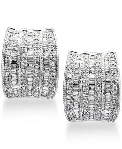 Classique by EFFY® Diamond Hoop Earrings (1-1/10 ct. t.w.) in 14k White Gold