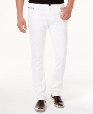 Calvin Klein Jeans Men's Slim-Straight Fit Stretch White Jeans