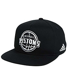 adidas Kids' Detroit Pistons Black and White Snapback Cap