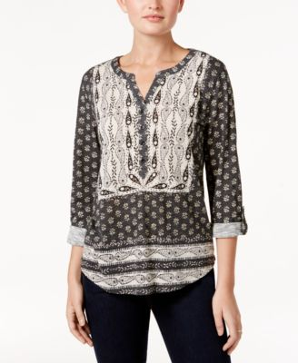 Image of Style & Co Mixed-Print Peasant Top, Only at Macy's