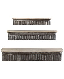 Metal and Wood Shelves, Set of 3