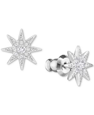 SILVER-TONE PAVE STAR STUD EARRINGS