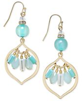 INC International Concepts Gold-Tone Blue Stone Beaded Drop Earrings, Created for Macy's
