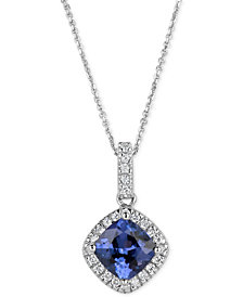 Tanzanite (1-1/4 ct. t.w.) and Diamond (1/8 ct. t.w.) Pendant Necklace in 14k White Gold