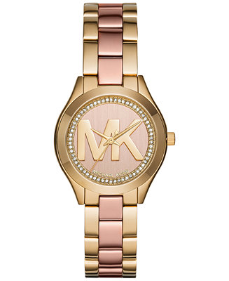 2b6c5eee79 Michael Kors Women s Mini Slim Runway Two-Tone Stainless Steel Bracelet  Watch 33mm MK3650   Reviews - Watches - Jewelry   Watches - Macy s