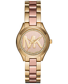 Michael Kors Women's Mini Slim Runway Two-Tone Stainless Steel Bracelet Watch 33mm MK3650