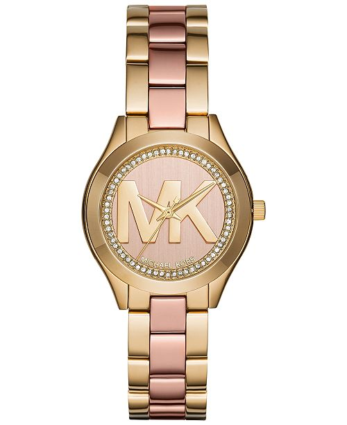 f0d9ac43f3 ... Michael Kors Women s Mini Slim Runway Two-Tone Stainless Steel Bracelet  Watch 33mm MK3650 ...