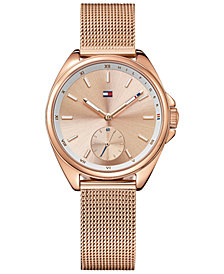 Tommy Hilfiger Women's Casual Sport Rose Gold-Tone Mesh Bracelet 36mm 1781756