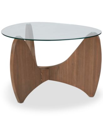 Brynden Glass Top Side Table, Quick Ship
