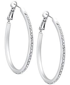 """Silver-Tone Pavé 1 1/4"""" Oval Hoop Earrings"""