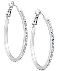 GUESS Silver-Tone Pavé Oval Hoop Earrings