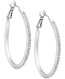 "GUESS Silver-Tone Pavé 1 1/4"" Oval Hoop Earrings"