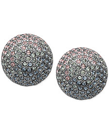 Nina Silver-Tone Pavé Button Earrings