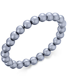 Charter Club Silver-Tone Gray Imitation Pearl Stretch Bracelet, Created for Macy's