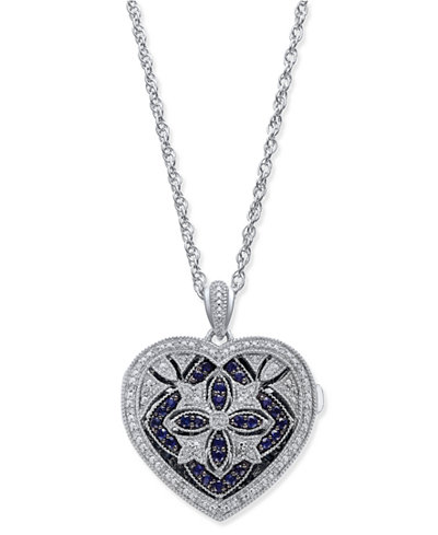 Sapphire (1/2 ct. t.w.) and Diamond (1/7 ct. t.w.) Heart Pendant Necklace in Sterling Silver
