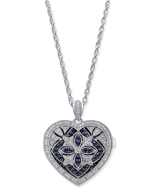 Macy's Sapphire (1/2 ct. t.w.) and Diamond (1/7 ct. t.w.) Heart Pendant Necklace in Sterling Silver