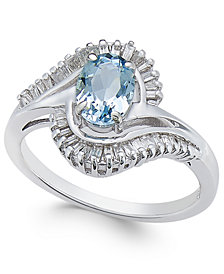 Aquamarine (3/4 ct. t.w.) & Diamond (3/8 ct. t.w.) Ring in 14k White Gold