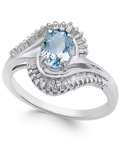 Aquamarine (3/4 ct. t.w.) & Diamond (3/8 ct. t.w.) Ring in 14k White Gold