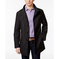 Deals on Calvin Klein Mens Slim Fit Black Solid Raincoat
