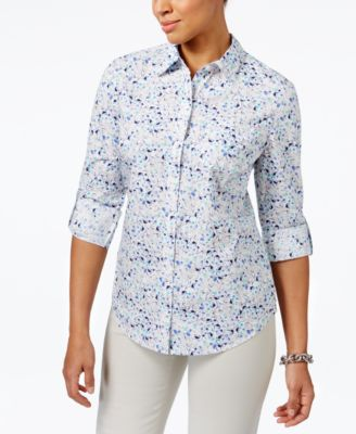 Image of Karen Scott Cotton Printed Roll-Tab Shirt, Only at Macy's