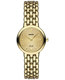 Seiko Women's Dress Solar	Gold-Tone Stainless Steel Bracelet Watch 23mm SUP352