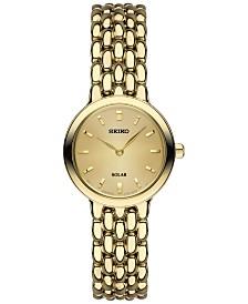 Seiko Women's Dress SolarGold-Tone Stainless Steel Bracelet Watch 23mm SUP352