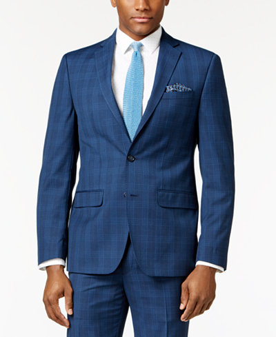 Sean John Men's Slim-Fit Navy Plaid Suit Jacket - Suits & Suit ...
