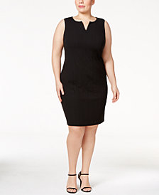 Calvin Klein Plus Size Split-Neck Sheath Dress