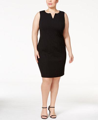 Calvin Klein Plus Size Split-Neck Sheath Dress